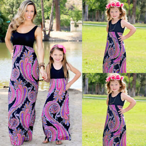 Image is loading Summer-Family-Clothes-Mother-Daughter-Beach-Dresses-Womens- fc7d68d60f