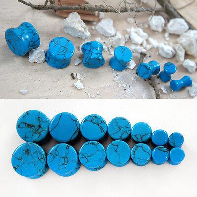 Pair Organic Double Flared Saddle Gauge Ear Plug BlueTurquoise Natural Stone