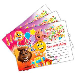 Detalles De Tarjetas Invitaciones De Cumpleaños Fiesta Invita A Emoji Niños Niños Niñas Niños Ver Título Original