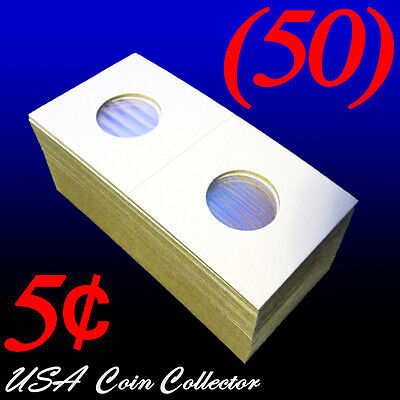 Nickel Size 2x2 Mylar Cardboard Coin Flip for Storage5 Cent Paper Holder 50