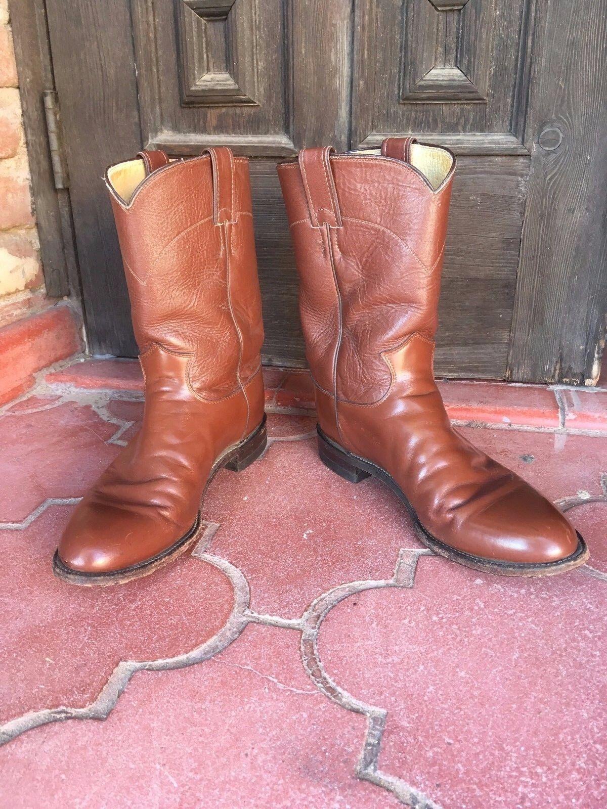 Clásico Justin Roper Cognac Cuero botas De Vaquero Para Hombres D (Fd)
