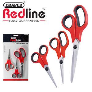 Draper Redline Scissor Set Sewing/Kitchen/Household/Office/General Scissors 3Pc