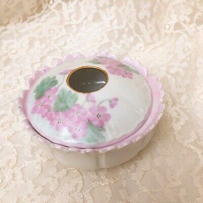 Pink Irises Hair Saver Antique German Porcelain Hair Receiver and Lidded China Box Set Bath Decor Handpainted Flowers Vanity Jars