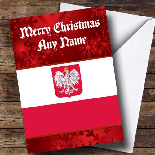 Poland Personalised Christmas Greetings Card Polish Flag