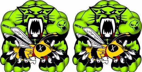 "12/"" Vinyl Vehicle Decal Stickers PAIR Arctic Cat Team MUSCLE vs Ski-Doo Bee"