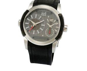Visetti Men s SN-SW643SB Black Rubbrer Dual Time Stainless Steel ... 3e33631d0f8