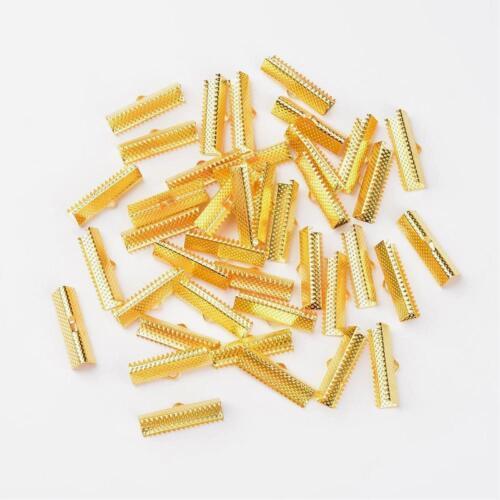 LOT de 24 EMBOUTS PINCES DORES ATTACHE RUBAN à griffes gros grain 25mm perles