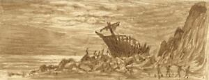 E-Venis-Shipwreck-on-Rocks-Hastings-19th-century-sepia-watercolour-painting