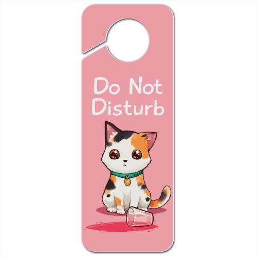 Kawaii Cute Cat Spilled Glass of Water Plastic Door Knob Hanger Sign