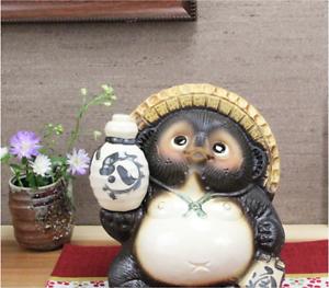 Japanese-Shigaraki-Yaki-Tanuki-Raccoon-Dog-Tokkuri-Pottery-Lucky-Charm