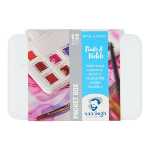 Royal Talens Van Gogh Watercolour Pocket Box Set of 12 Pinks /& Violets Colours