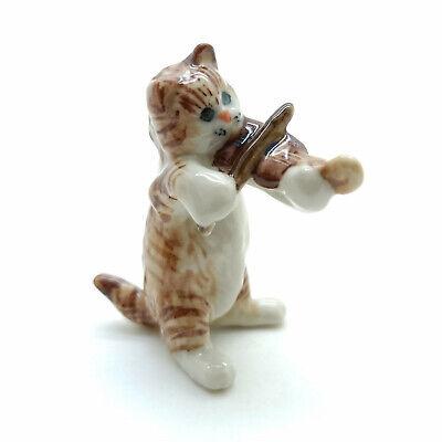 Brown Cat Ceramic Figurine Animal Statue Playing Violin Musical Fg017 4 Ebay