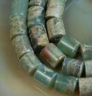 "6x7mm Natural Serpentine Stone Column Gem Beads 15.5"""