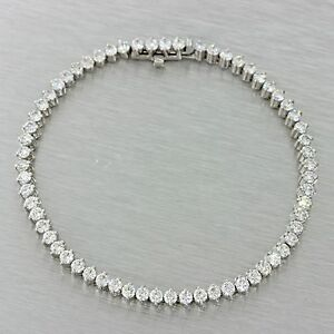 $15000 Modern Estate 18k White Gold 5.00ctw G VS1 Roberto Coin Tennis Bracelet