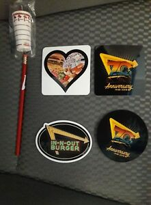 HOOKED ON /& PARKING ONLY BUMPER STICKERS--LOT OF 3 IN-N-OUT BURGER OVAL