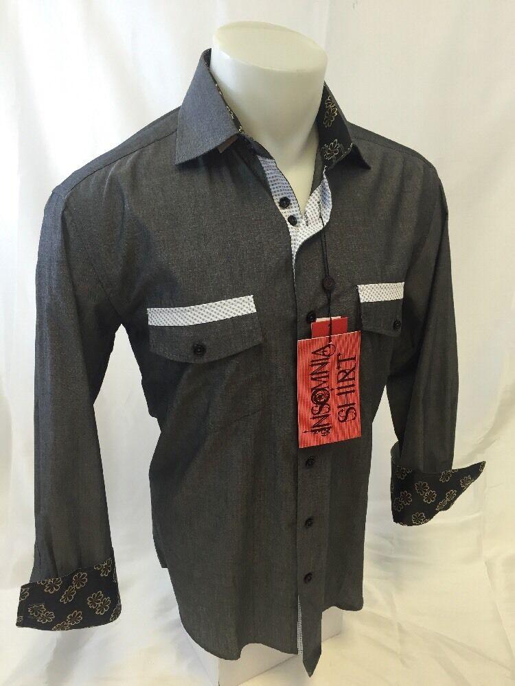 Mens INSOMNIA By MANZINI Button Down Dress Shirt BLACK 2 POCKET ROAR IN47 NWT 1