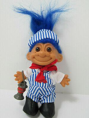 TRAIN CONDUCTOR Russ Troll  Doll  NEW Blue Hair Vintage Retro Nostalgic