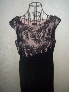 Details about Connected Apparel Women s Full Length Black  Pink With Black  Lace Dress 14P f6d92839a6