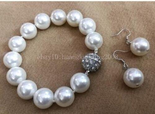 8mm 10mm 12mm 14mm White South Sea Shell Pearl Bracelet AAA 7.5inch+Earring SET