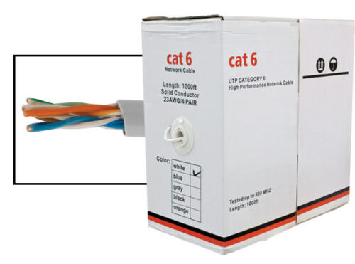 1000FT CAT6 UTP SOLID LAN NETWORK ETHERNET CABLE BULK WIRE 23 AWG 550MHz White