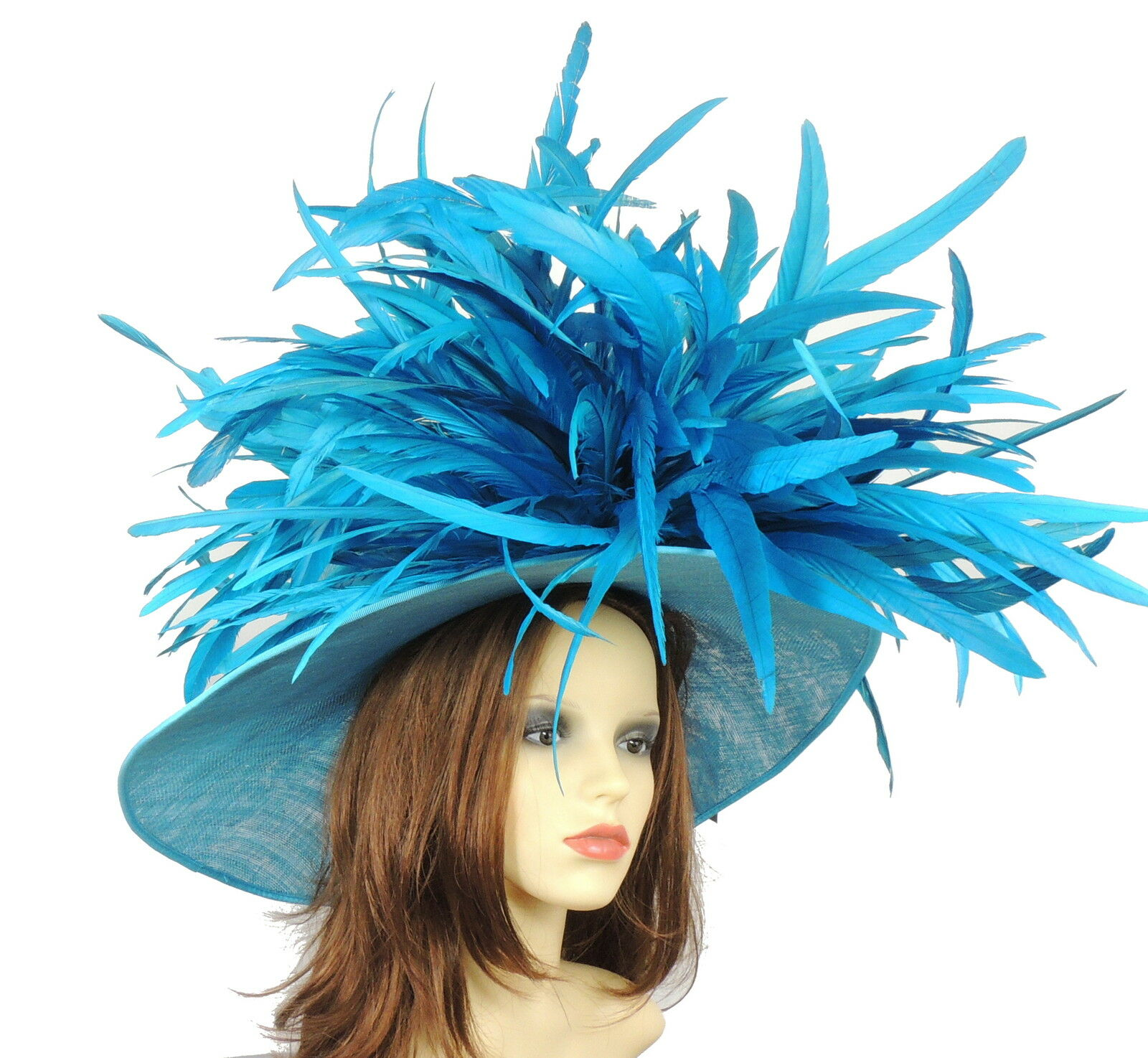 Dark Turquoise Large Ascot Hat for Weddings, Ascot, Derby HC1