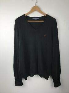 Ralph Lauren Sport Womens Black Cotton Knit V-Neck Jumper, XL, 16, GC