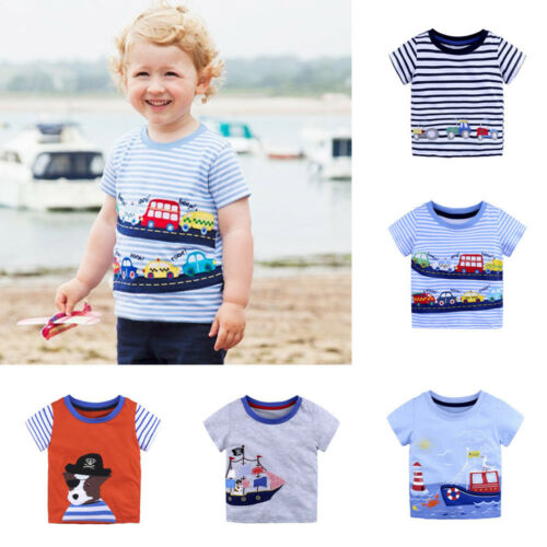 2018 Summer Infant Baby Kids Boy Girl T Shirts Cartoon Print T Shirts Top Outfit