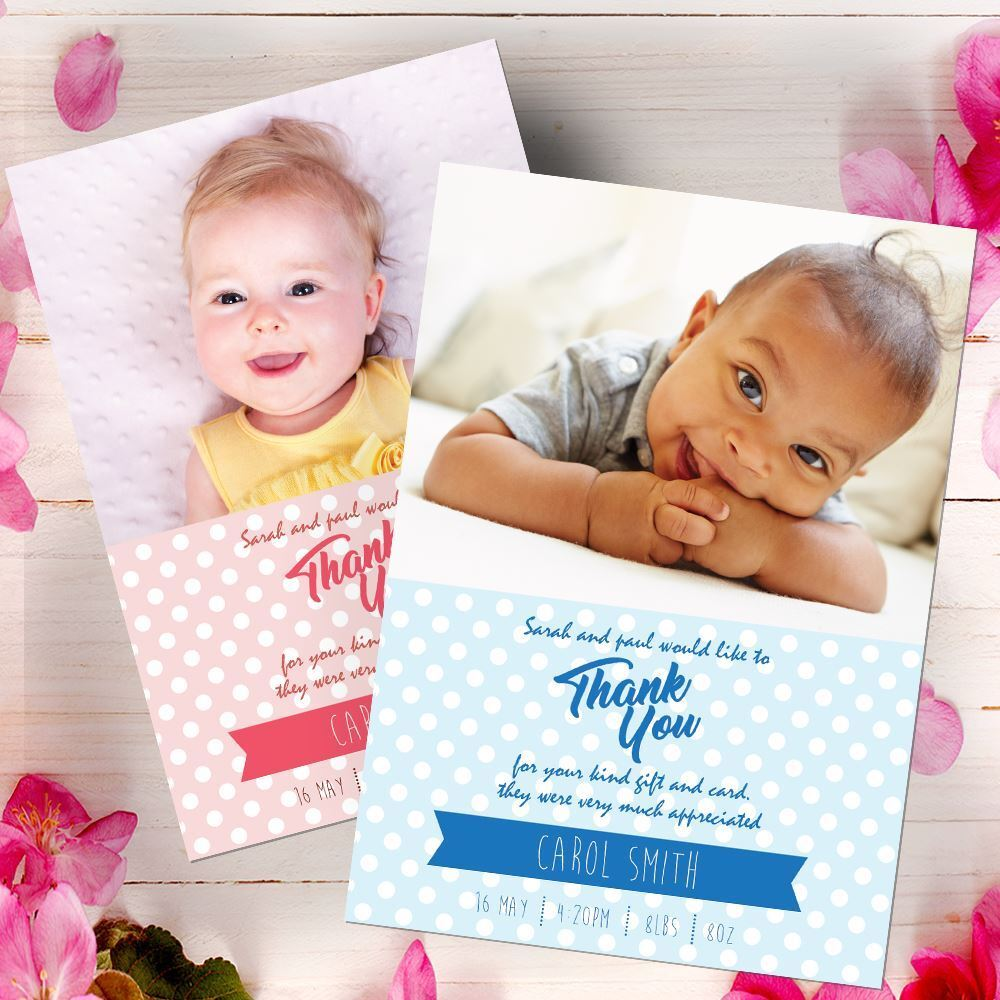 Personalised Christening Photo Thank You Cards Baby Baby Cards Boy