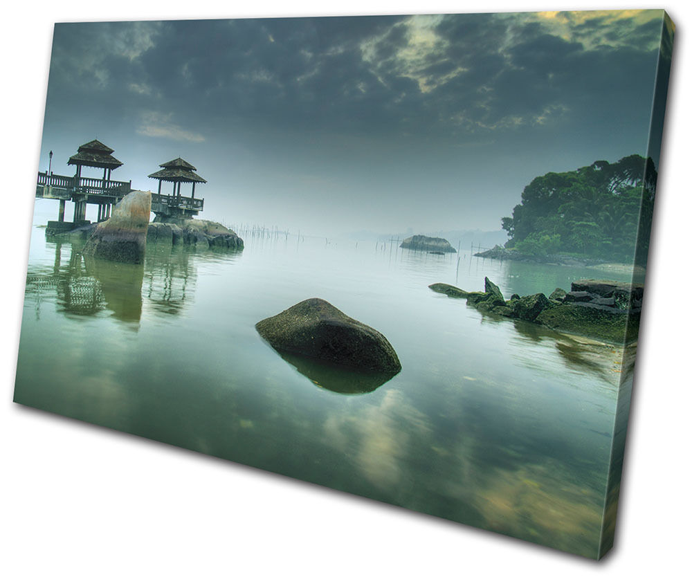 Sunset Seascape Japanese SINGLE Leinwand Wand Kunst Bild drucken