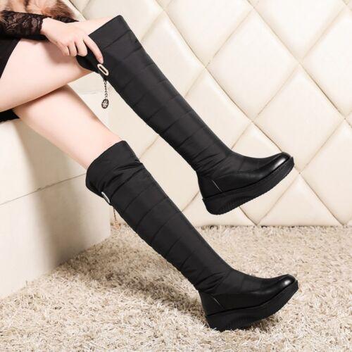 Metal Decor Womens Fur Lined Hidden Heels Warm Winter Outdoor Knee High Boots