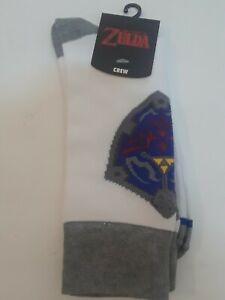 The Legend of Zelda Shield Crew Sock Pair White size 10-13 nintendo bioworld