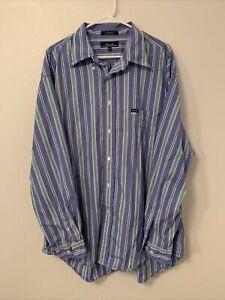 Faconnable-Mens-2XL-Long-Sleeve-Button-Down-Shirt-Striped