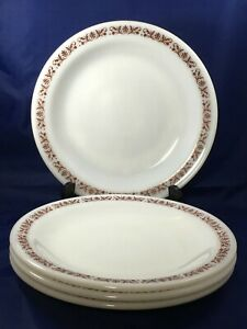 4-Anchor-Hocking-959-Fire-King-Copper-Filigree-8-7-8-034-Dinner-Plates-USA