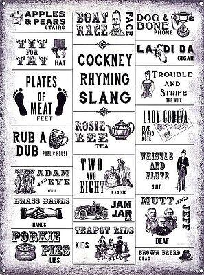 og Cockney Rhyming Slang funny steel sign 200mm x 150mm