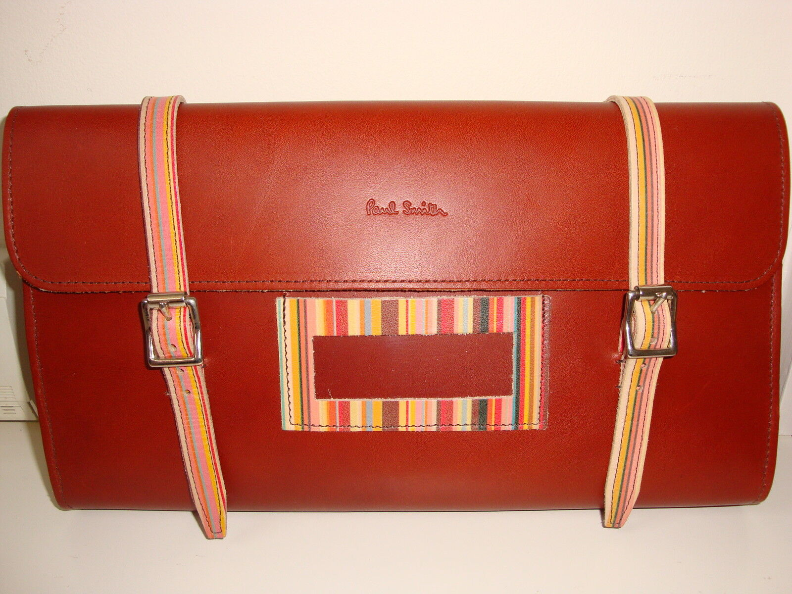Paul Smith BROWN & SIGNATURE STRIPES  LEATHER BIKE TOOL CASE Cycle Wallet Bag  60% off