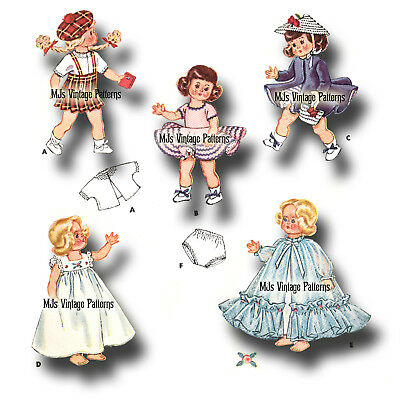 """Vtg 50s Pattern Doll Clothes 8/"""" Ginny Wendy ~ Formal Gown Dresses Nightgown"""