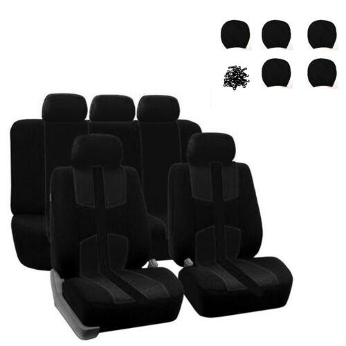 Neu Schwarz atmungsaktiv Stoff Auto Sitzbezug Kissen Protector mit Zubehör