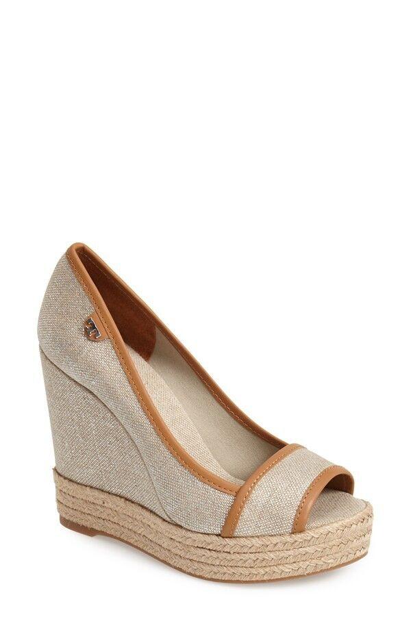 NEW  225+ Tory Burch MAJORCA Natural / Gold Metallic Wedge Sandal Shoe Sz 9