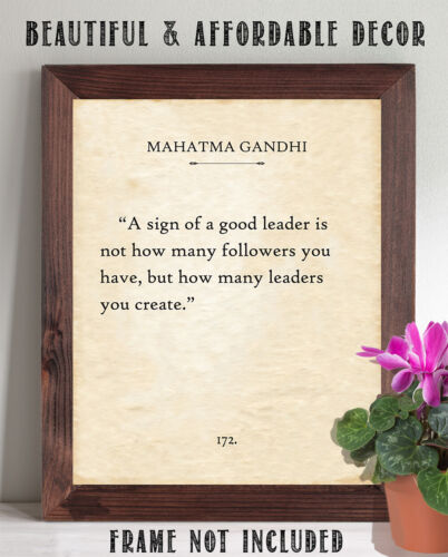 Gandhi 11x14 Unframed Typography Book Page Print A Sign Of A Good Leader G