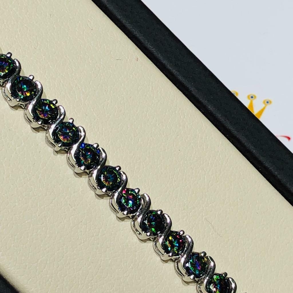 Platino argentoo Sterling Mano Set Topazio Topazio Topazio Mistico S Design Braccialetto Tennis 6577e7