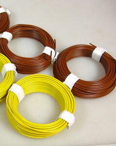 0-15-m-60-m-Litze-Kabel-gelb-braun-z-B-fuer-Faller-Laternen-Leuchten-Q8