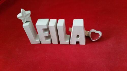 Steinguss Buchstaben 3D Deko Namen LEILA als Geschenk verpackt! Beton