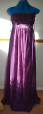 New * Sz 10 Purple Chiffon skirt Maxi Dress Pearl effect bead flowers Punkyfish