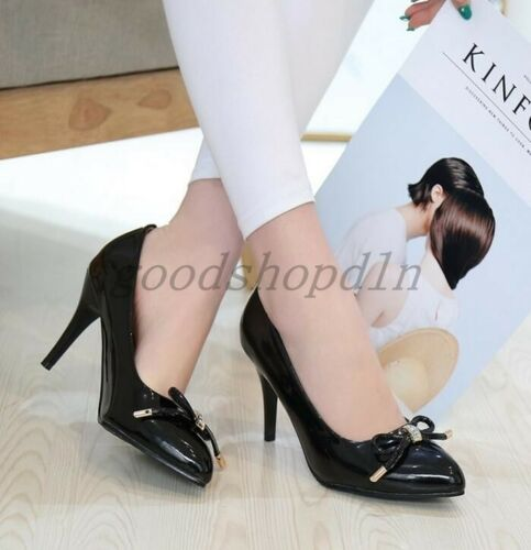 Elegant Womens Patent Leather Bowknot Pointed Toe Pumps High Heels Slip On Shoes