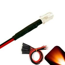 20 X Pre Wired 6v 5mm Amber Orange Leds Prewired 6 Volt Dc Led Light 3v 4v 5v