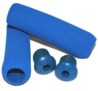 Low Profile Cushion Handlebar Grips & Plugs / Blue