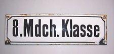 "Altes Emailschild Schriftschild "" 8. Mädchen Klasse "" Schule loft vintage 1910er"