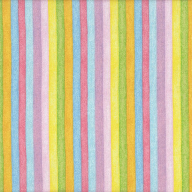 Colourful Stripes Pink Yellow Red Green Garden Baby Quilt Fabric FQ or Metre NEW