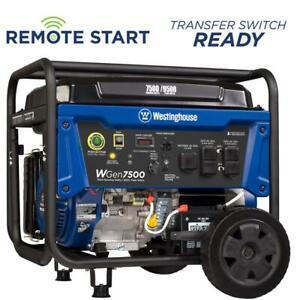 WGen7500 Portable Generator w/ Remote Electric Start Gas Powered + GREAT UNIT!!