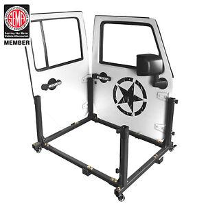 Black Metal Door Storage Movable Cart Holder For 07-18 Jeep Wrangler JK 4 Door